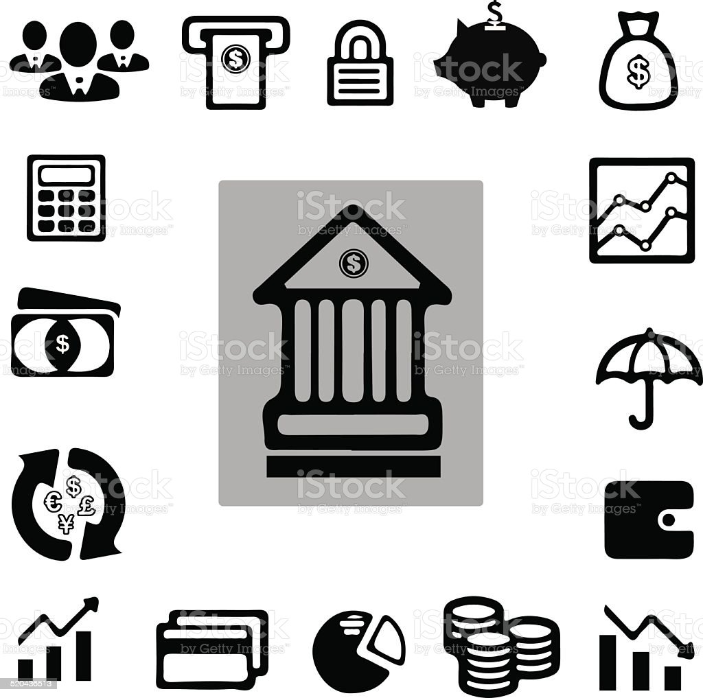 Business & Finance Icon Set vector art illustration