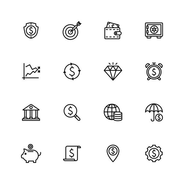 Business & Finance Icons - Black Outline Series Business & Finance Icons - Black Outline Series - Set 2 safety deposit box stock illustrations