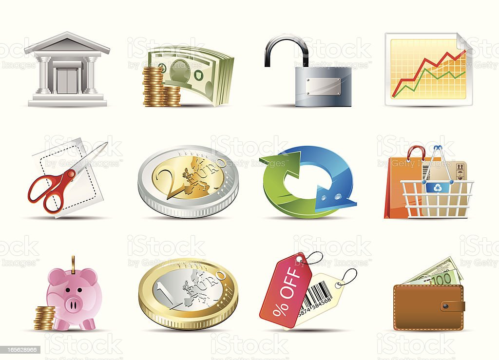 Business & Finance icons vector art illustration
