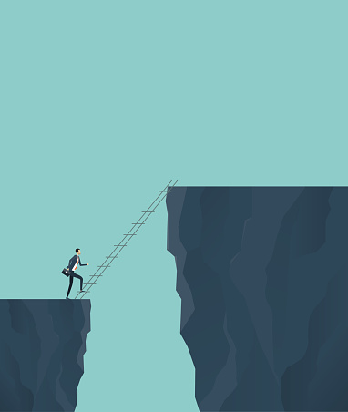 business finance investment risk concept with businessman cross the cliff