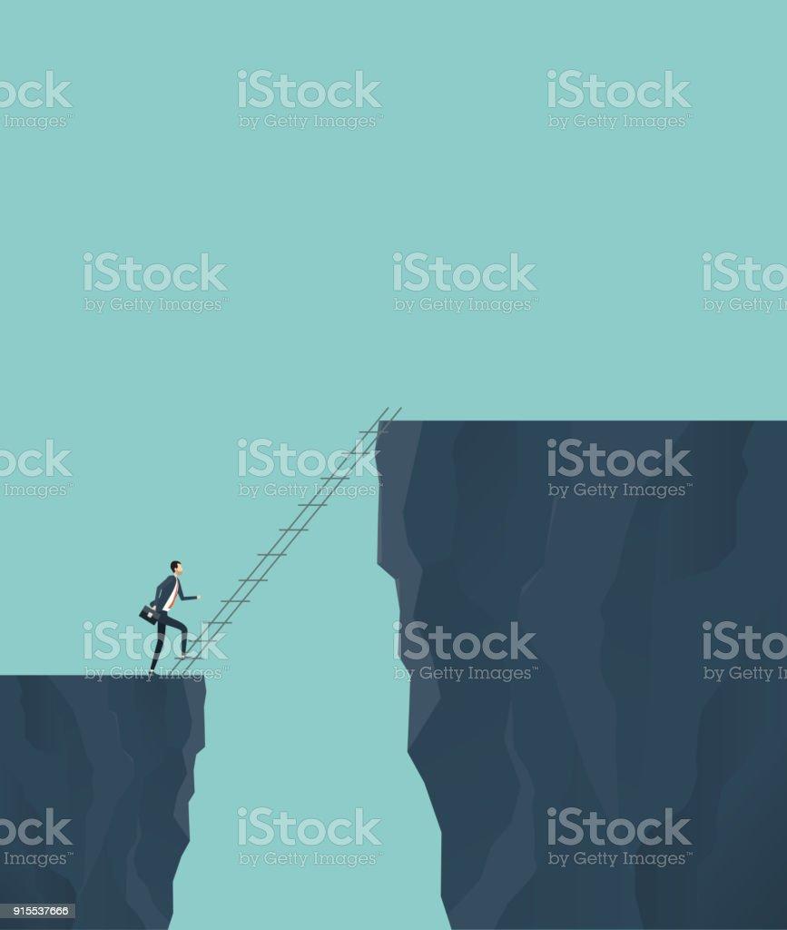 concept de risque commercial finance investissement avec l'homme d'affaires traverser la falaise - Illustration vectorielle