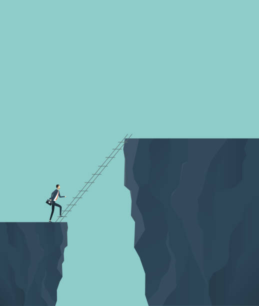 business finance investment risk concept with businessman cross the cliff - good bye stock illustrations, clip art, cartoons, & icons