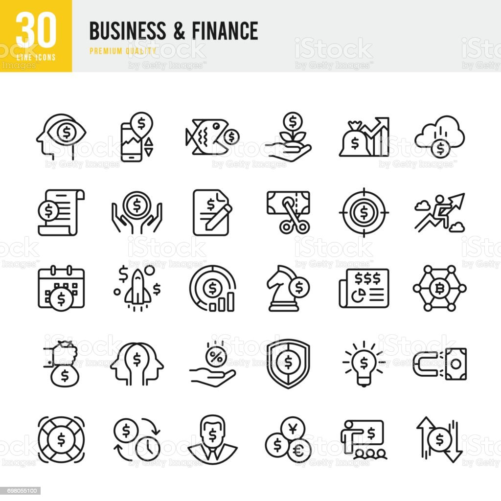 Business & Finance - set of thin line vector icons – artystyczna grafika wektorowa