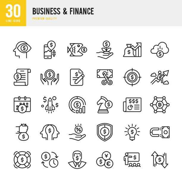 Business & Finance - set of thin line vector icons Set of Business and Finance thin line vector icons. tax form stock illustrations