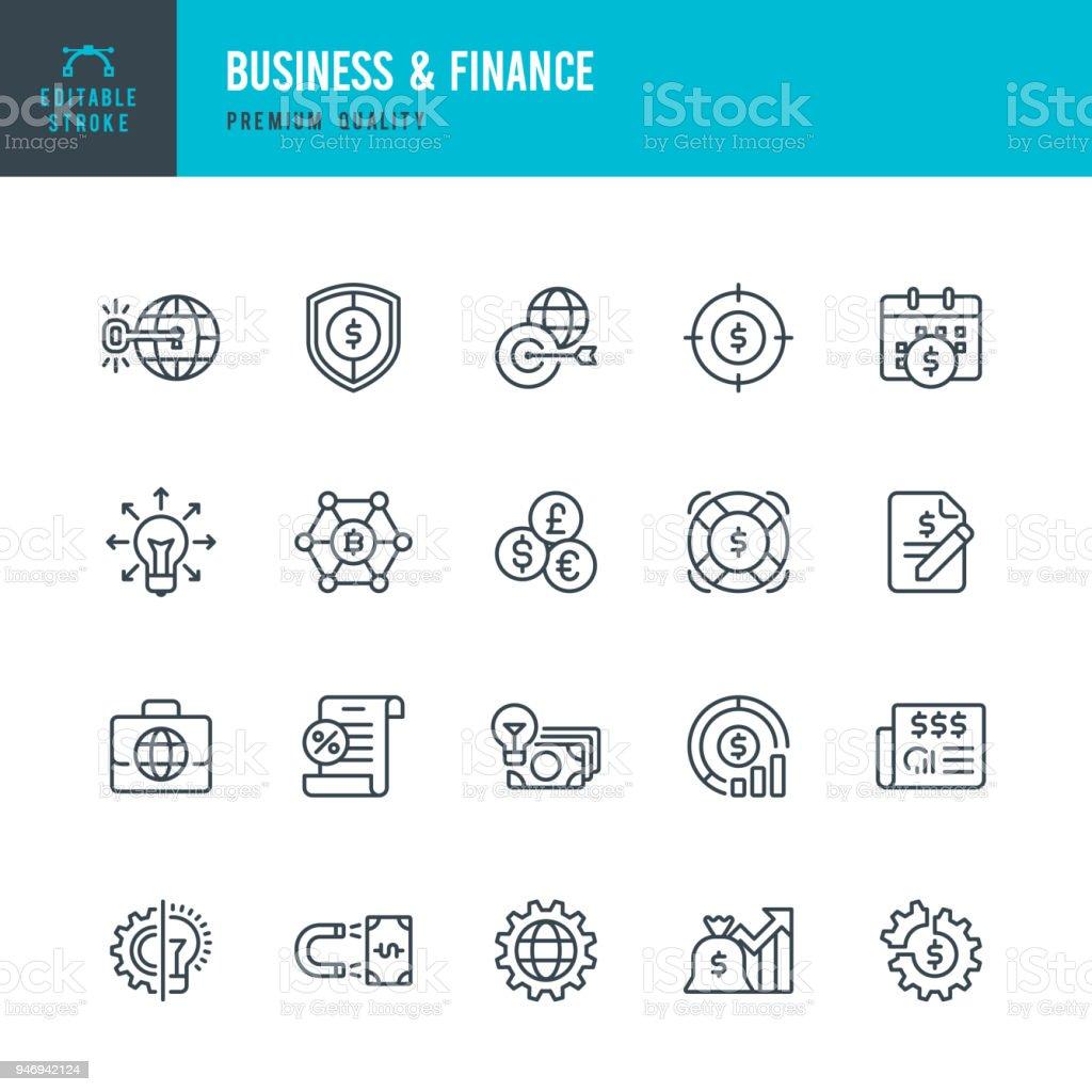 & Unternehmensfinanzierung - Vektor-Linie-Icons set – Vektorgrafik