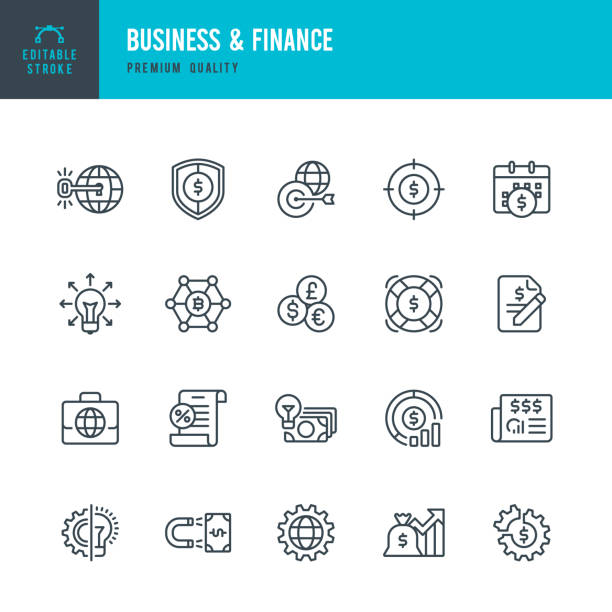 Business & Finance - set of vector line icons Set of Business and Finance thin line vector icons. budget symbols stock illustrations