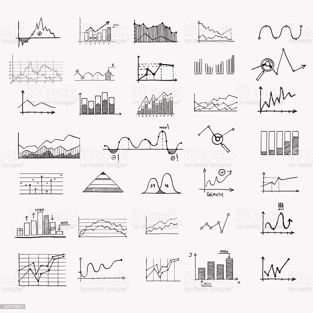 business finance statistics infographics doodle hand drawn elements. Concept - vector art illustration