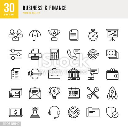 Business & Finance set of 30 line vector icons.