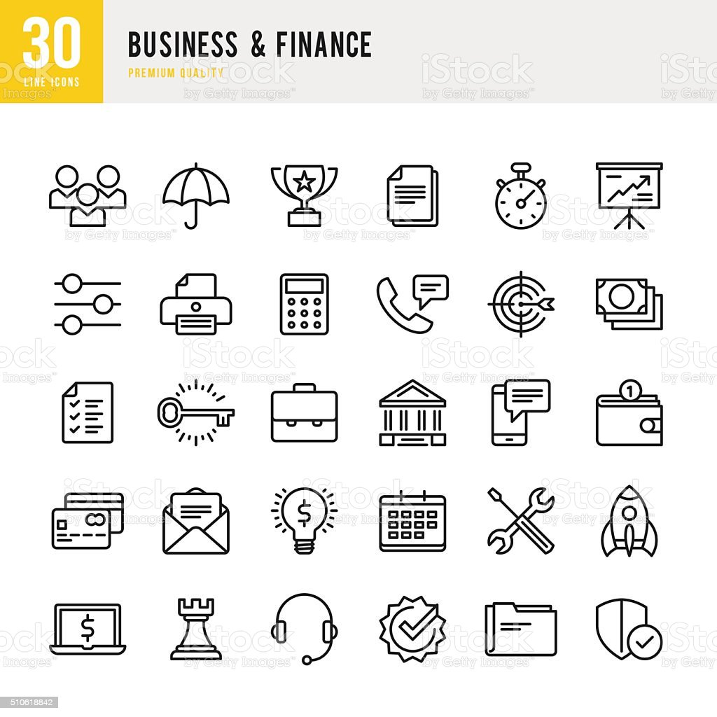 Business & Finance - Thin Line Icon Set vector art illustration