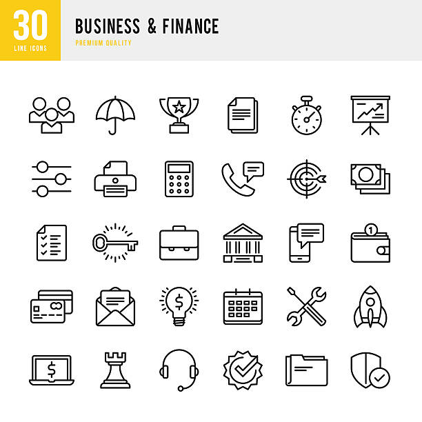 stockillustraties, clipart, cartoons en iconen met business & finance - thin line icon set - portfolio tas