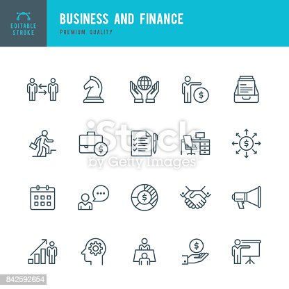 Set of business & finance thin line vector icons.