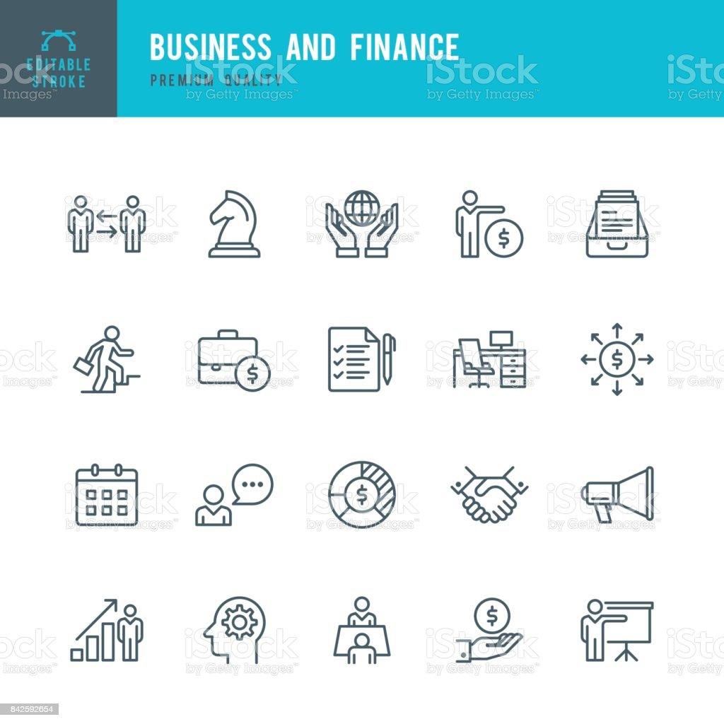 Affaires &  des finances-fine ligne ensemble de icône - Illustration vectorielle