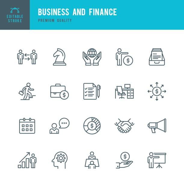 business & finance  - thin line icon set - business icons stock illustrations, clip art, cartoons, & icons
