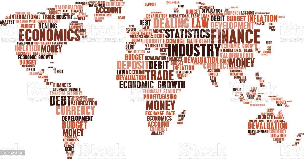 Business Finance Word Cloud Tags World Map Shape Stock Vector Art - World map shape