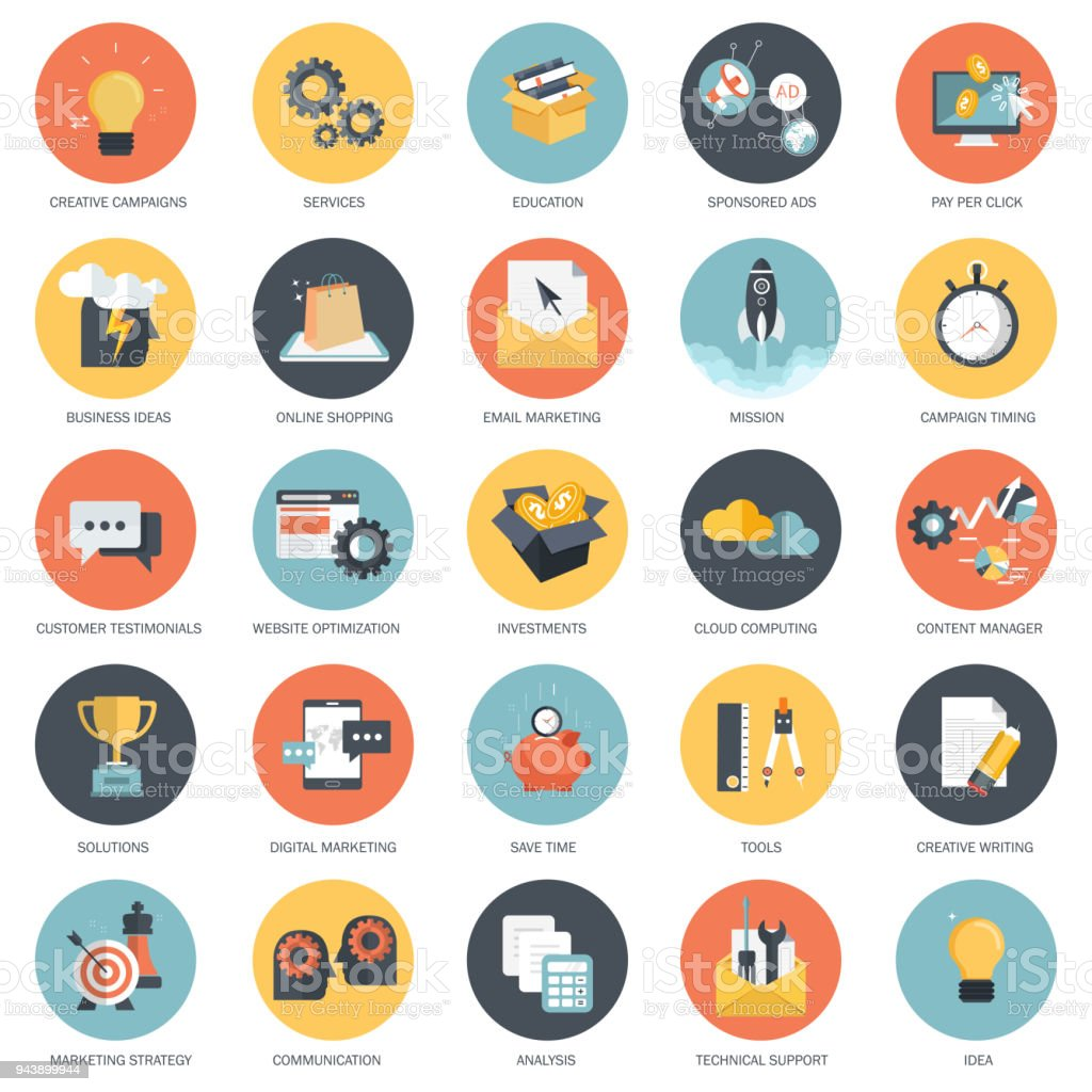 Business, finances and technology icon set. Flat vector illustration vector art illustration
