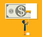 Business financial concept painting dollar - Illustration