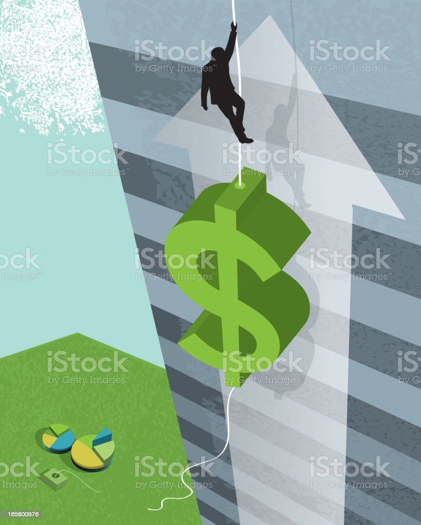 Business financial concept with rising dollar sign vector art illustration