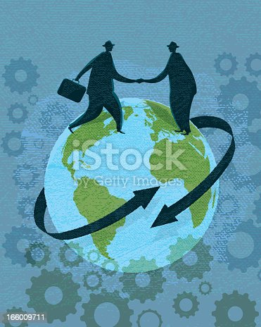 Stylized vector illustration of two silhouetted businessmen shaking hands on a globe. Arrows suggest communication, trade, world finance. Faint gear designs in background. Very textured. Download includes Illustrator 10 eps, high resolution jpg and png file.