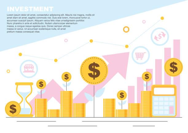 illustrations, cliparts, dessins animés et icônes de concept de croissance du marché de l'investissement financier d'affaires. economisez de l'argent - inflation