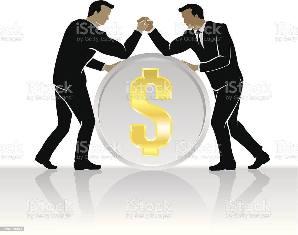 Business Financial Wrestling vector art illustration
