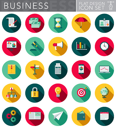 Business Flat Design Icon Set with Side Shadow