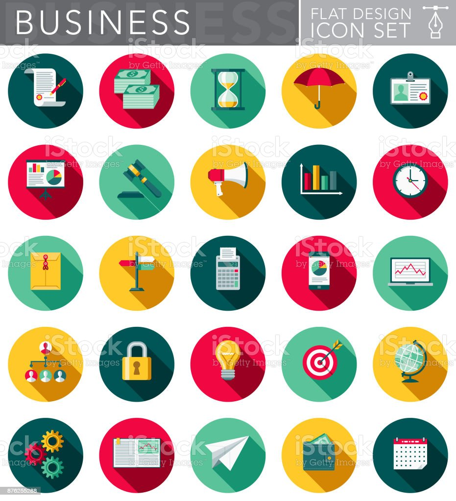 Business Flat Design Icon Set with Side Shadow vector art illustration
