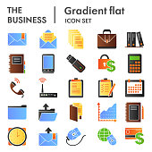 Business flat icon set. Marketing symbols collection, sketches, logo illustrations, management signs color gradient pictograms package isolated on white background. Vector graphics