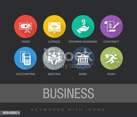 1068752548 istock photo Business Flat Icon Set 939468924