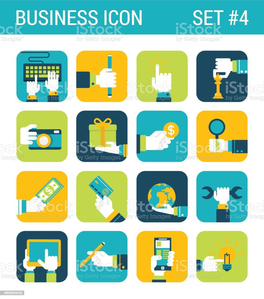 Business flat icons set hands touch objects money coin globe world credit card camera wrench tablet gift box pencil web click infographics style vector illustration concept collection. royalty-free business flat icons set hands touch objects money coin globe world credit card camera wrench tablet gift box pencil web click infographics style vector illustration concept collection stock vector art & more images of abstract
