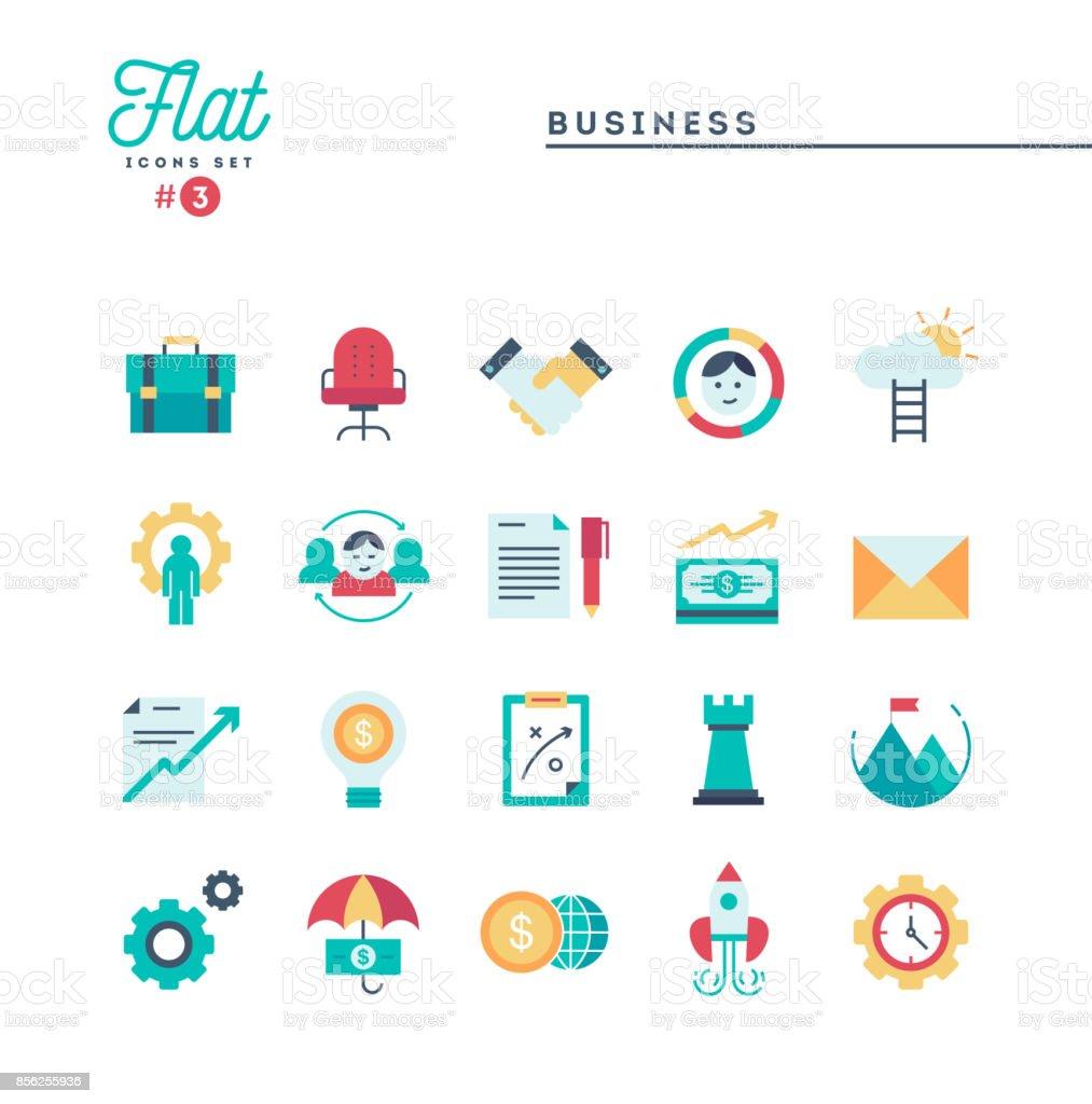 Business, flat icons set, vector illustration