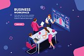 Business workflow management, office situations. People workspace creative interact. Developer sitting with glasses, website brainstorming. Infographic workplace collection, design page flat isometric