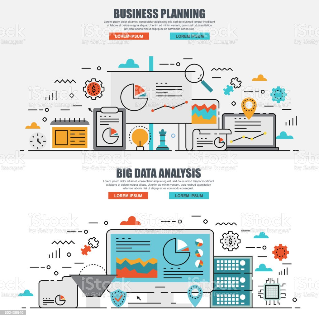 Business Flat Line Concept Of Big Data Analysis Planning ...