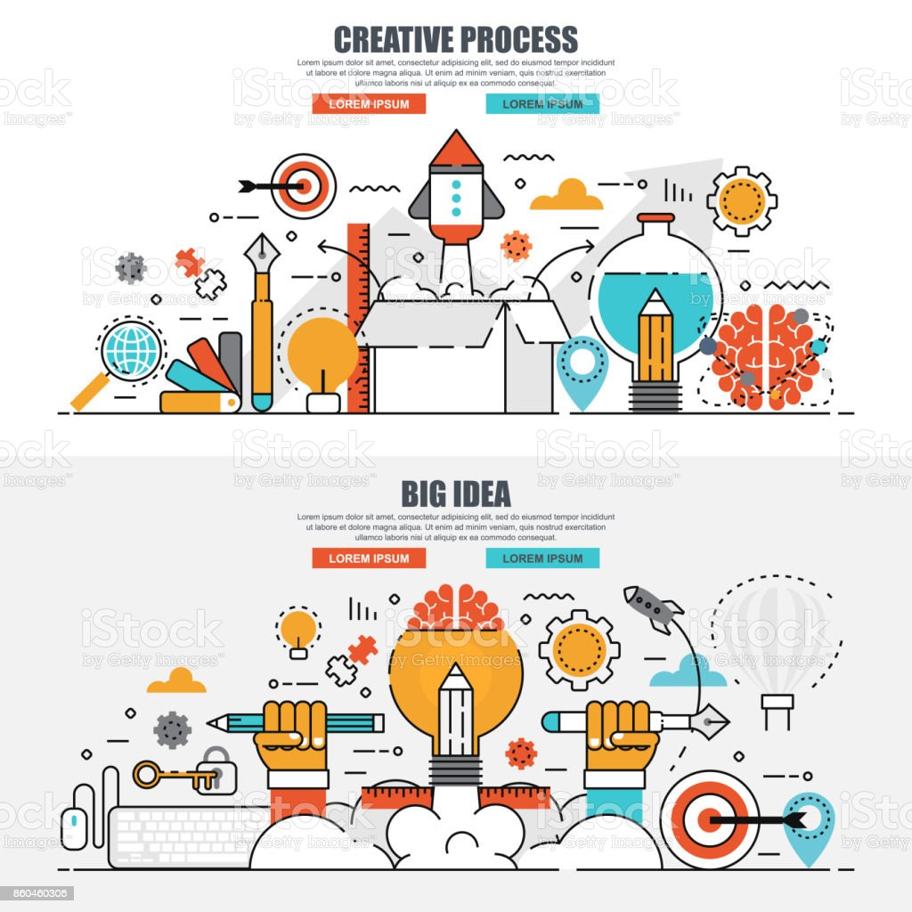 business flat line concept of creative process and big idea stock