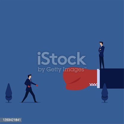 Business flat vector concept man with big punch fight against little man metaphor of risk and chance.