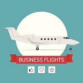 Business flights with business jet plane