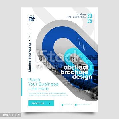 istock Business flyer design template. Modern brochure, leaflet, catalog, magazine layout in letter size 1330911129