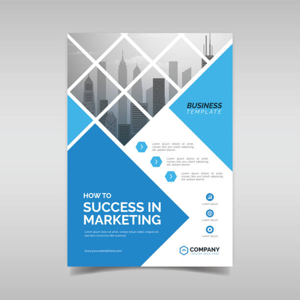 business flyer design template - annual reports templates stock illustrations