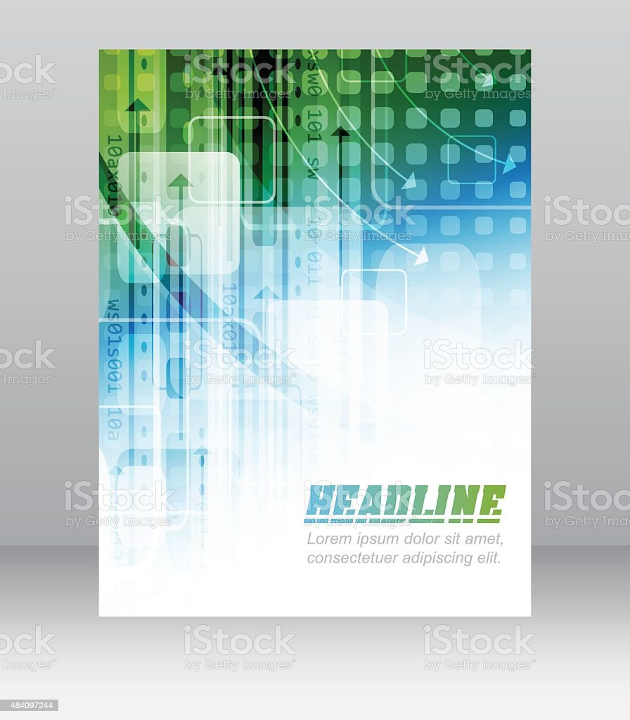 Business flyer template with abstract technological pattern, square and arrows vector art illustration