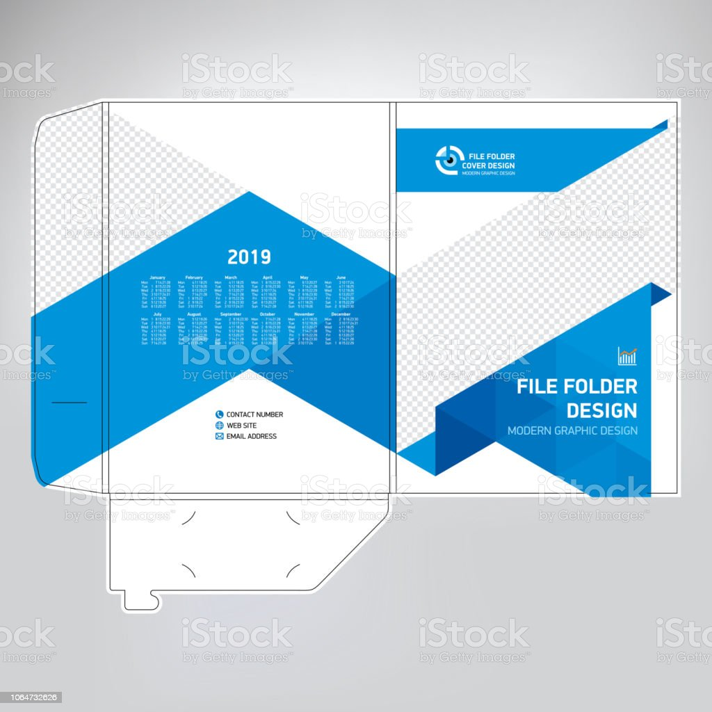 business folder design cover template with calendar for 2019 stock