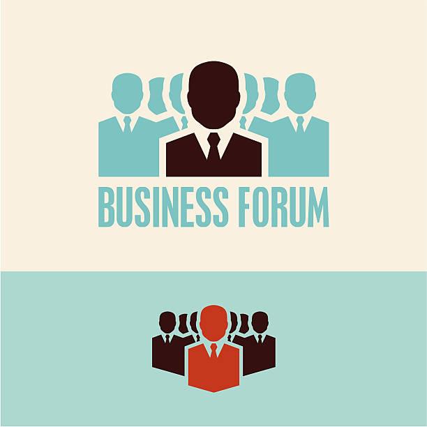 ilustrações, clipart, desenhos animados e ícones de fórum de empresas. reunião. - ceo