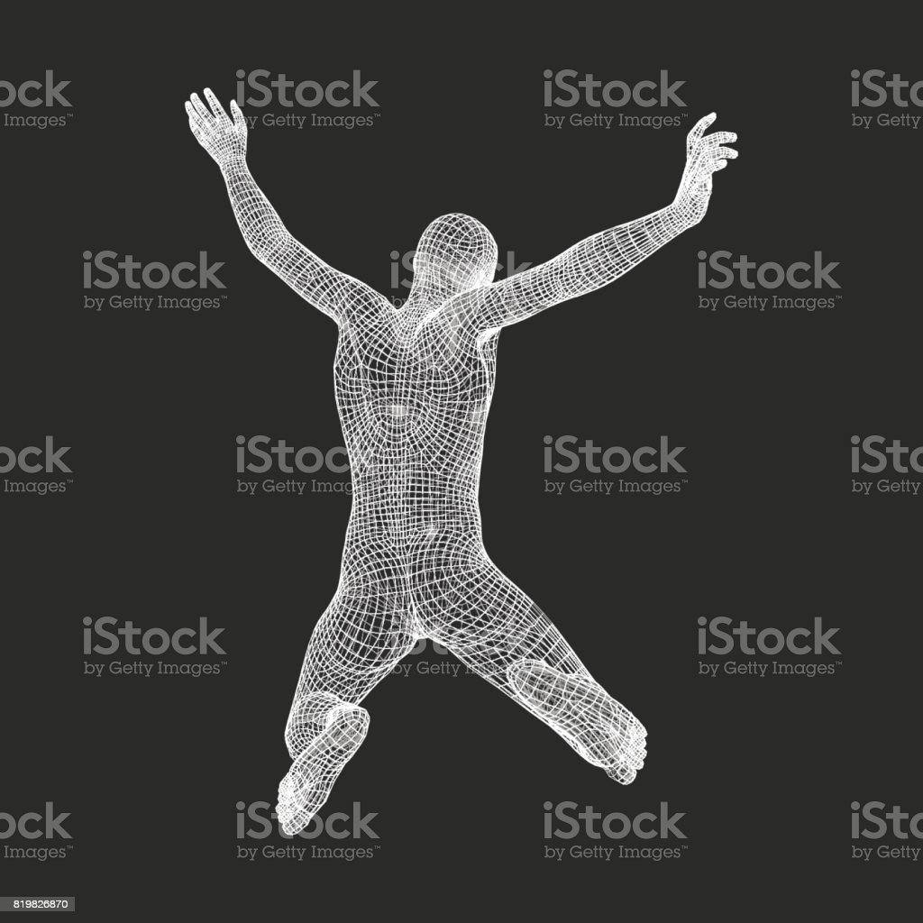Business, Freedom or Happiness Concept. 3D Model of Man. Vector Illustration. vector art illustration