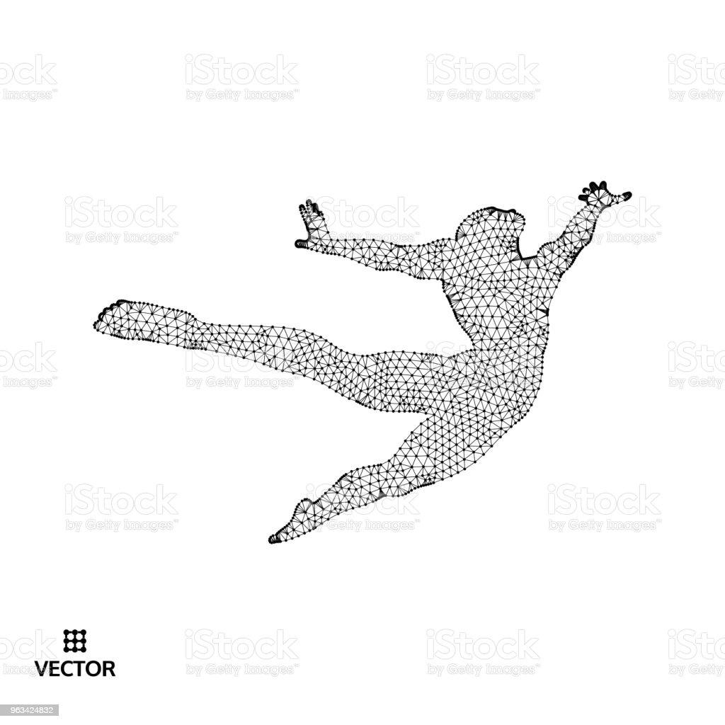 Business, frihet eller lycka koncept. 3D-modell av människan. Vektorillustration. - Royaltyfri Aktiv livsstil vektorgrafik