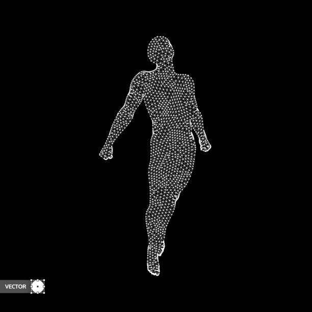 geschäft, freiheit und glück konzept. 3d modell des menschen. vektor-illustration. - freiflächen stock-grafiken, -clipart, -cartoons und -symbole