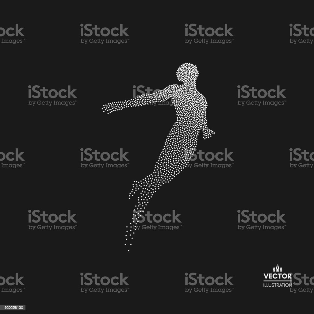 Business, freedom or happiness concept. Dotted silhouette of person. Vector illustration.