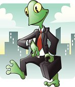 Business Frog checking the Time