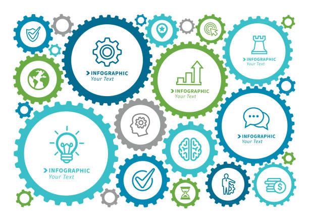 business gear concept - oś czasu pomoc wizualna stock illustrations