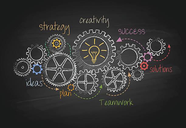 getriebe und erfolg business plan  - gelöst stock-grafiken, -clipart, -cartoons und -symbole