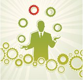 Business man holding gears like a juggler, that complete a gears chain, representing several solutions to a problem.