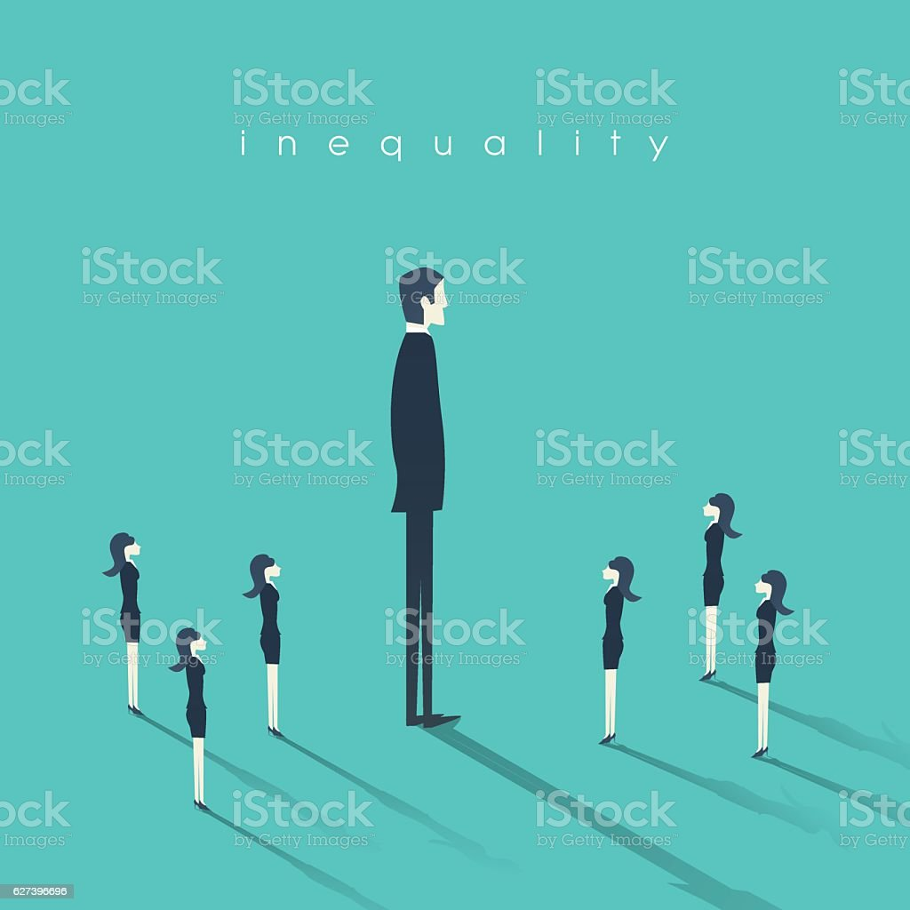 Business gender inequality concept with businessman and businesswoman symbol. - ilustración de arte vectorial