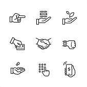 Business Gesture theme related outline vector icon set.  CONTENT BY ROWS  First row of icons contains: Pointing Hand, Computing in Hand, Sprout in Hand;  Second row contains: Credit card on hand, Handshake, Watch on hand;   Third row contains: Coins in Hand, Code entering Hand, Mobile Payment.   9 Outline style black and white icons / Set #28 Pixel Perfect Principle - all the icons are designed in 64x64 px grid, outline stroke 2 px.  Complete Outline 3x3 PRO collection - https://www.istockphoto.com/collaboration/boards/hyo8kGplAEWxASfzDWET0Q